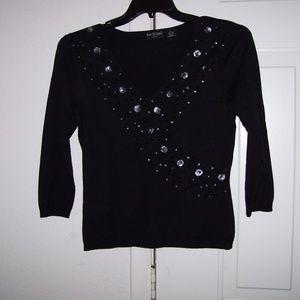 BAY STUDIO Career Black Sequin L/S Sweater Size M